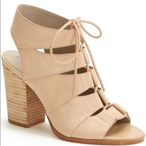 HINGE Beige Lace Up Peep Toe Sandals - Size 11M